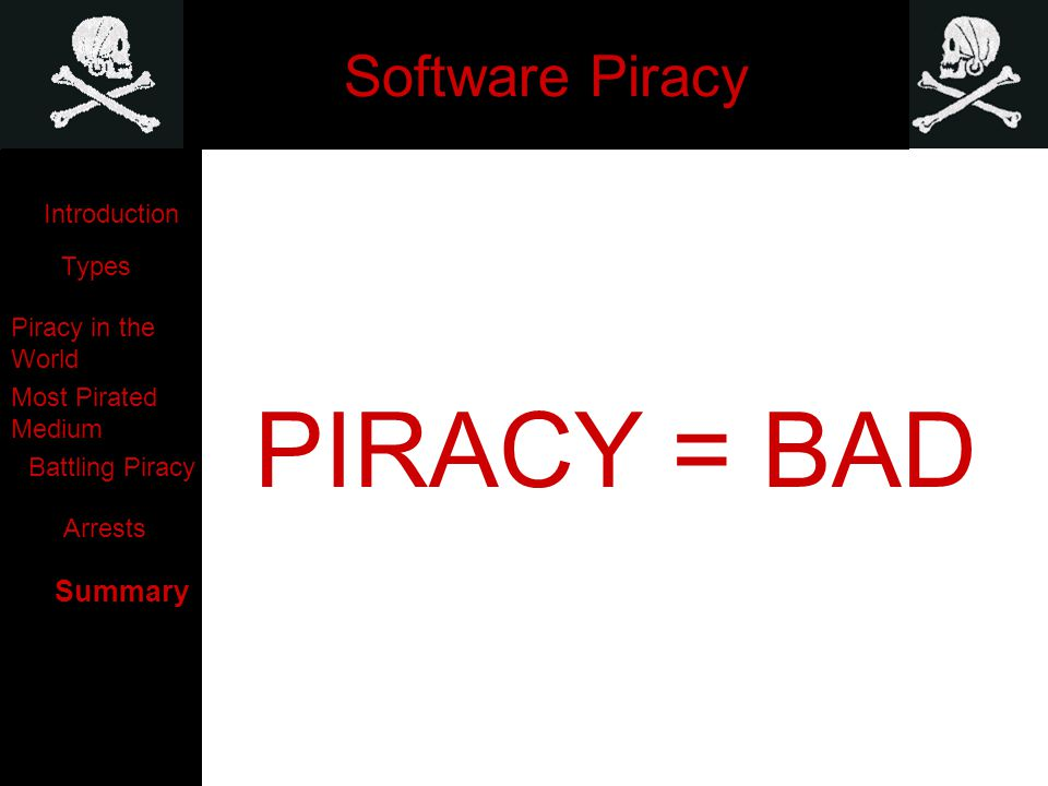Software Piracy PIRACY = BAD Introduction Types Piracy in the World Most Pirated Medium Battling Piracy Arrests Summary