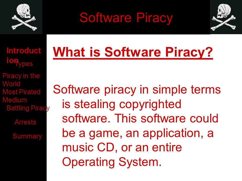 Software Piracy What is Software Piracy.