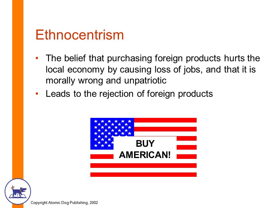 Copyright Atomic Dog Publishing, 2002 Ethnocentrism The belief that purchasing foreign products hurts the local economy by causing loss of jobs, and that it is morally wrong and unpatriotic Leads to the rejection of foreign products BUY AMERICAN!