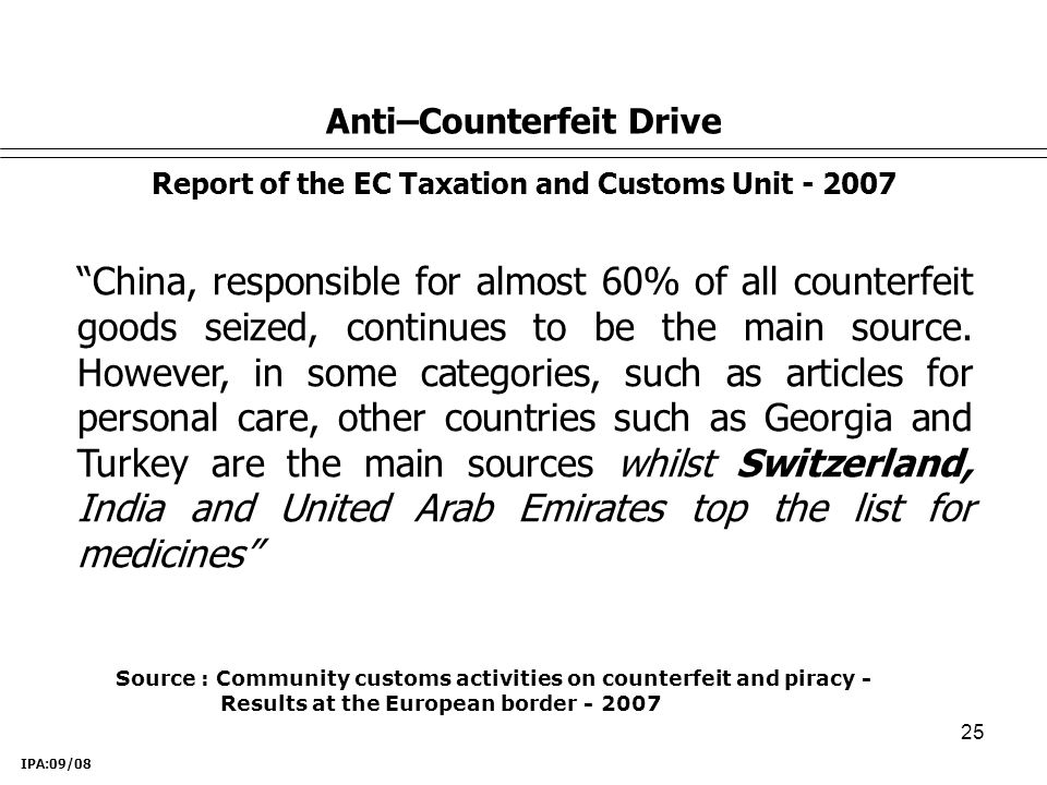 25 Anti–Counterfeit Drive Report of the EC Taxation and Customs Unit - 2007 China, responsible for almost 60% of all counterfeit goods seized, continues to be the main source.
