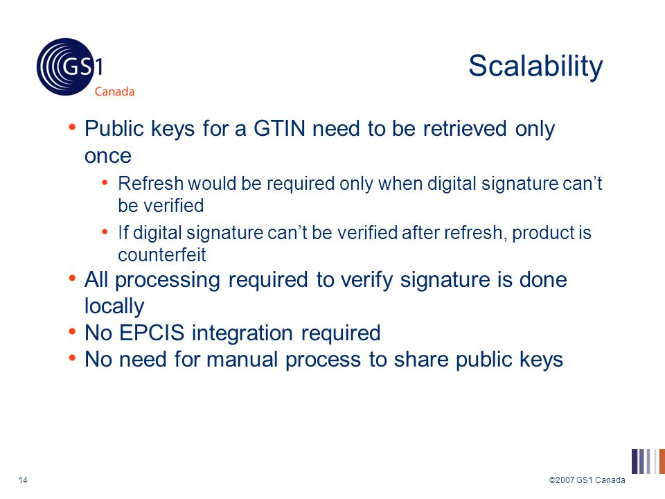 ©2007 GS1 Canada14 Scalability Public keys for a GTIN need to be retrieved only once Refresh would be required only when digital signature can't be verified If digital signature can't be verified after refresh, product is counterfeit All processing required to verify signature is done locally No EPCIS integration required No need for manual process to share public keys