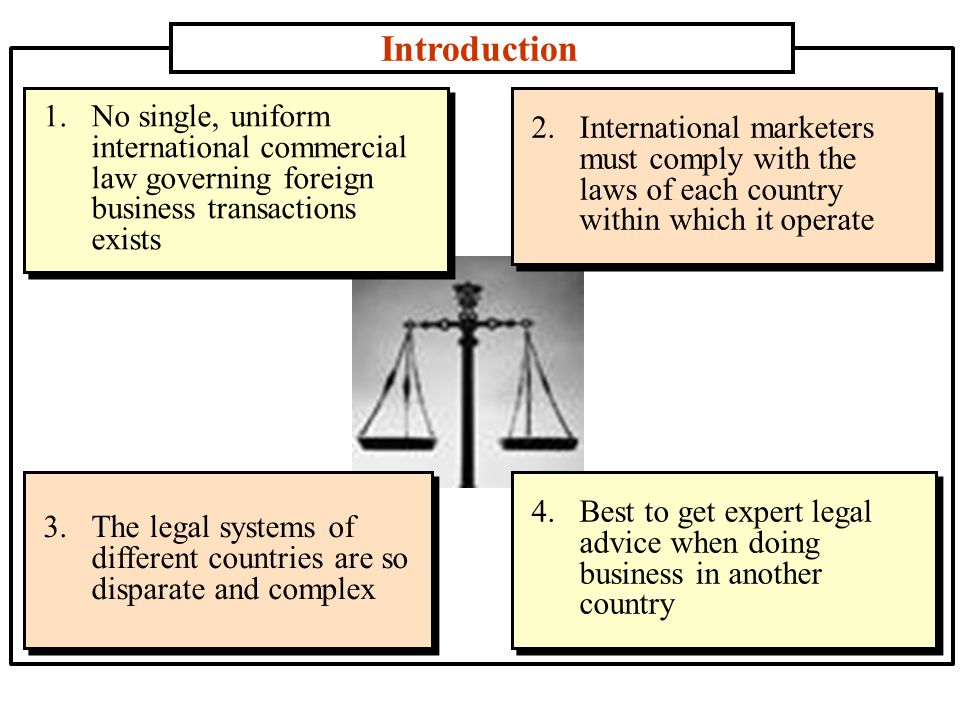 Introduction 1.No single, uniform international commercial law governing foreign business transactions exists 2.International marketers must comply with the laws of each country within which it operate 3.The legal systems of different countries are so disparate and complex 4.Best to get expert legal advice when doing business in another country