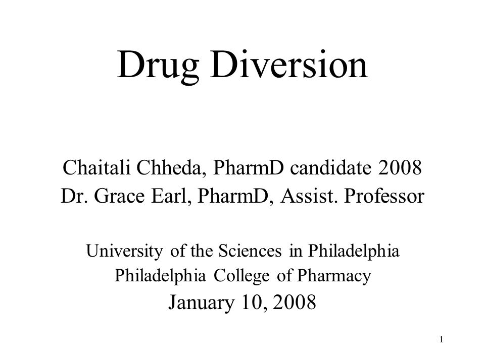 11 Drug Diversion Chaitali Chheda, PharmD candidate 2008 Dr.