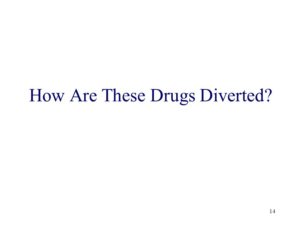 14 How Are These Drugs Diverted
