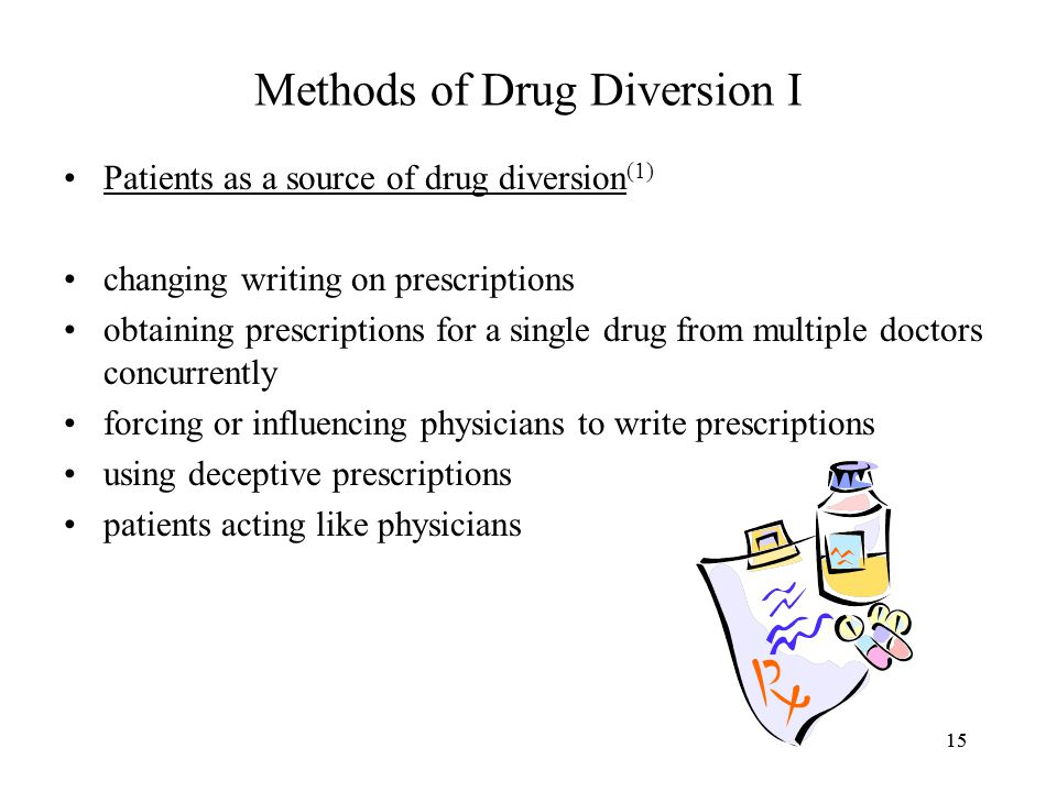 15 Methods of Drug Diversion I Patients as a source of drug diversion (1) changing writing on prescriptions obtaining prescriptions for a single drug from multiple doctors concurrently forcing or influencing physicians to write prescriptions using deceptive prescriptions patients acting like physicians 15