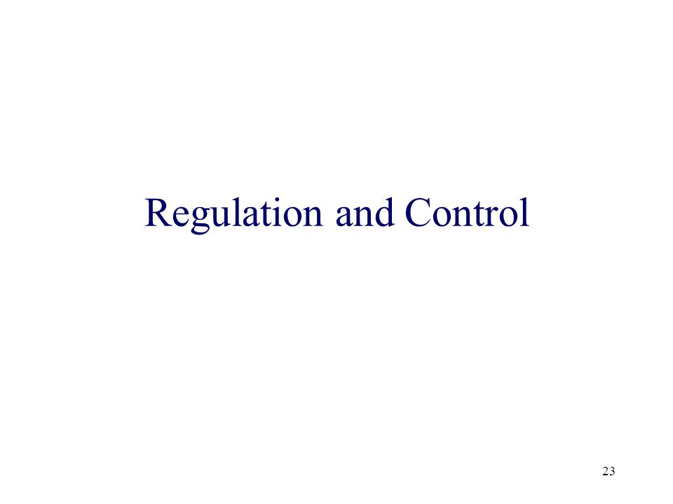 23 Regulation and Control