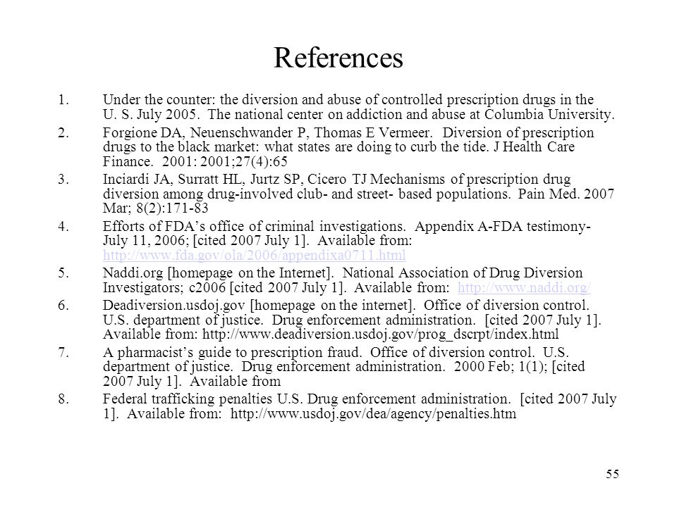 55 References 1.Under the counter: the diversion and abuse of controlled prescription drugs in the U.