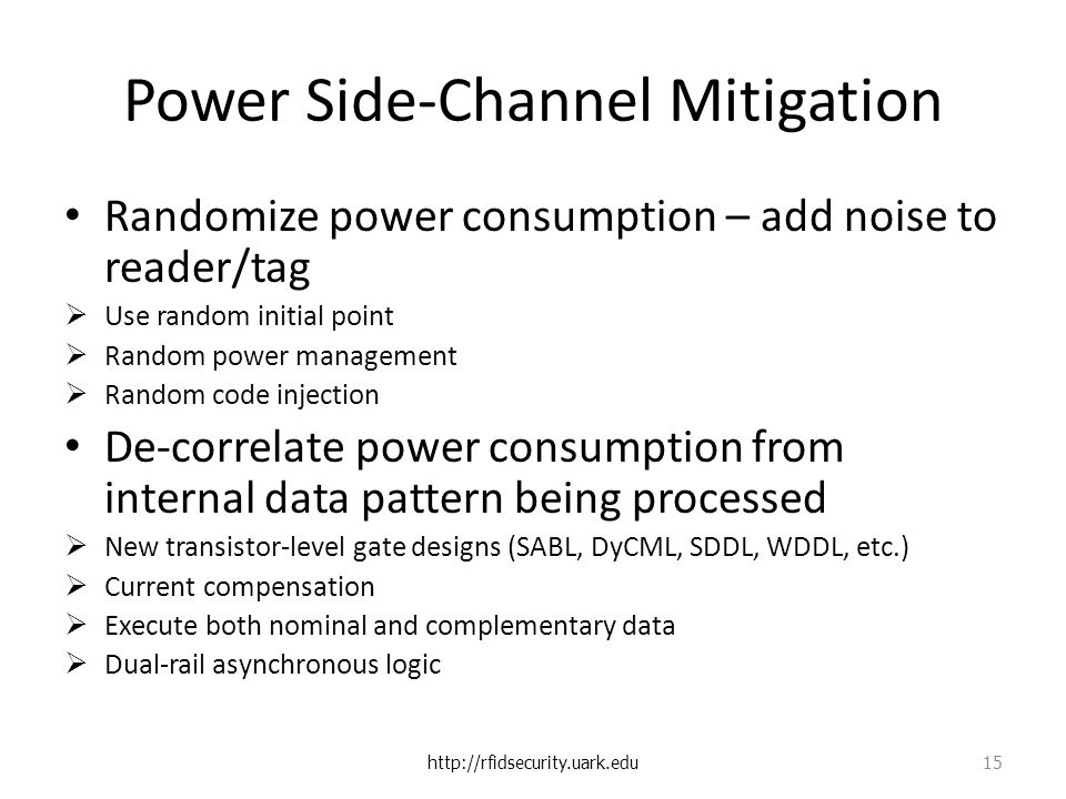 Power Side-Channel Mitigation Randomize power consumption – add noise to reader/tag  Use random initial point  Random power management  Random code