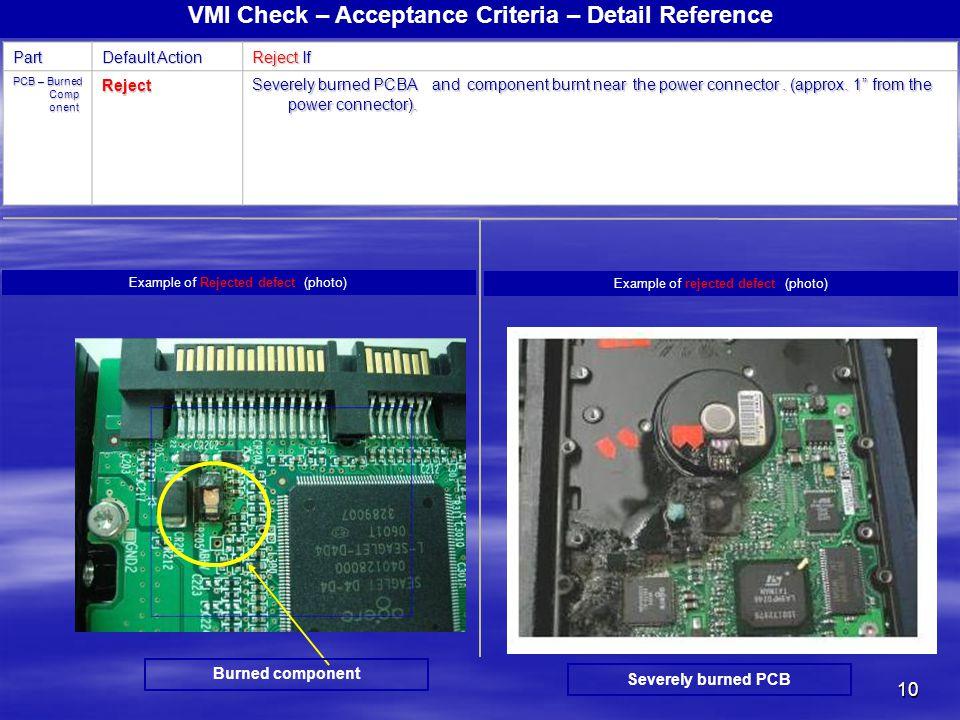 10 VMI Check – Acceptance Criteria – Detail ReferencePart Default Action Reject If PCB – Burned Comp onent Reject Severely burned PCBA and component b