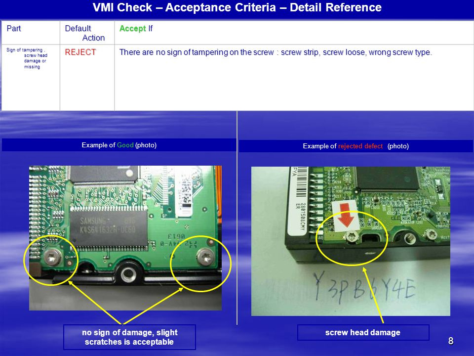 8 VMI Check – Acceptance Criteria – Detail ReferencePart Default Action Accept If Sign of tampering, screw head damage or missing REJECT There are no