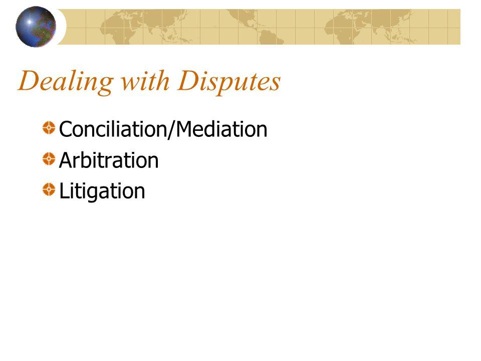 Dealing with Disputes Conciliation/Mediation Arbitration Litigation