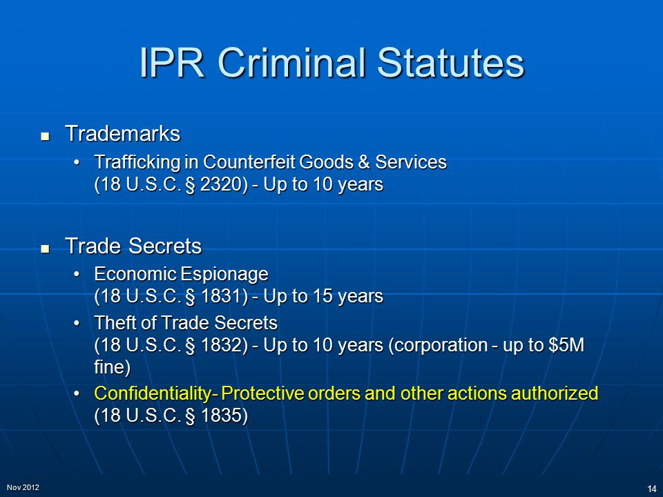 IPR Criminal Statutes Trademarks Trademarks Trafficking in Counterfeit Goods & Services (18 U.S.C. § 2320) - Up to 10 yearsTrafficking in Counterfeit