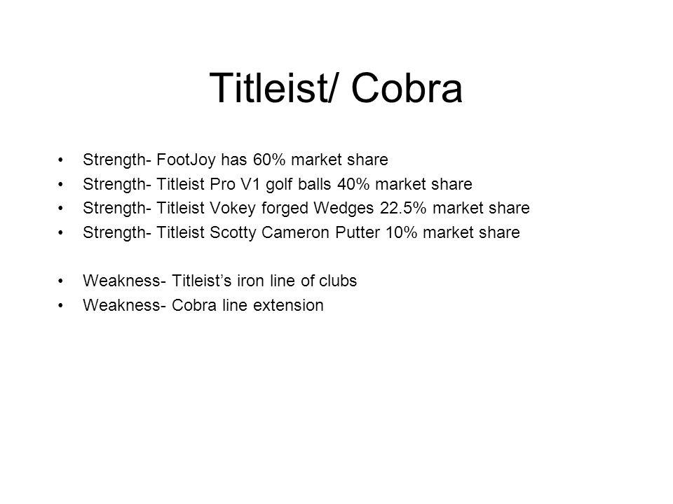 Titleist/ Cobra Strength- FootJoy has 60% market share Strength- Titleist Pro V1 golf balls 40% market share Strength- Titleist Vokey forged Wedges 22
