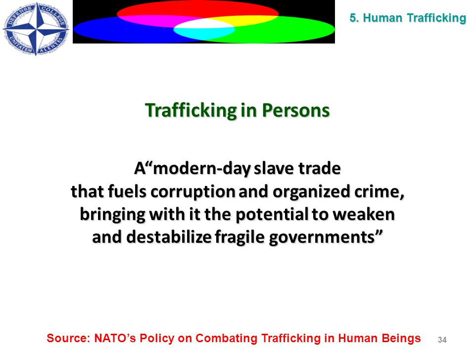 Trafficking in Persons A modern-day slave trade that fuels corruption and organized crime, bringing with it the potential to weaken and destabilize fragile governments 34 5.