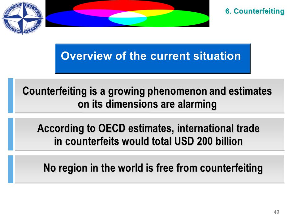 43 Overview of the current situation Counterfeiting is a growing phenomenon and estimates on its dimensions are alarming According to OECD estimates, international trade in counterfeits would total USD 200 billion No region in the world is free from counterfeiting 6.