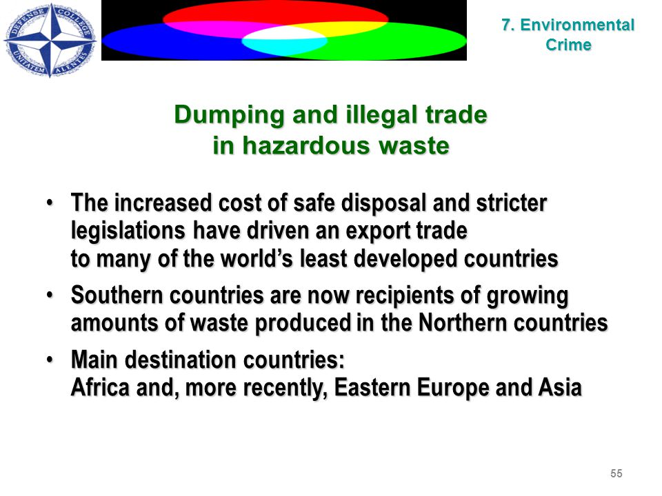 55 Dumping and illegal trade in hazardous waste The increased cost of safe disposal and stricter legislations have driven an export trade The increased cost of safe disposal and stricter legislations have driven an export trade to many of the world's least developed countries Southern countries are now recipients of growing amounts of waste produced in the Northern countries Southern countries are now recipients of growing amounts of waste produced in the Northern countries Main destination countries: Main destination countries: Africa and, more recently, Eastern Europe and Asia 7.
