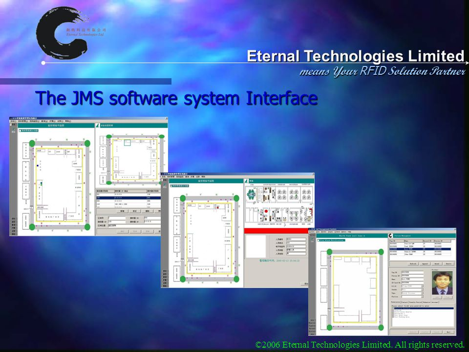 Eternal Technologies Limited means Your RFID Solution Partner ©2006 Eternal Technologies Limited. All rights reserved. The JMS software system Interfa