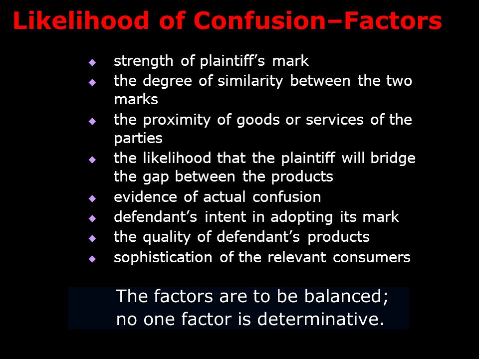 Likelihood of Confusion–Factors  strength of plaintiff's mark  the degree of similarity between the two marks  the proximity of goods or services of the parties  the likelihood that the plaintiff will bridge the gap between the products  evidence of actual confusion  defendant's intent in adopting its mark  the quality of defendant's products  sophistication of the relevant consumers The factors are to be balanced; no one factor is determinative.
