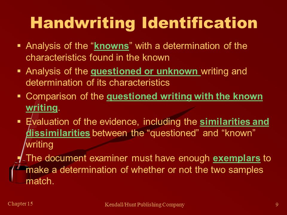 Chapter 15 Kendall/Hunt Publishing Company9 Handwriting Identification  Analysis of the knowns with a determination of the characteristics found in the known  Analysis of the questioned or unknown writing and determination of its characteristics  Comparison of the questioned writing with the known writing.