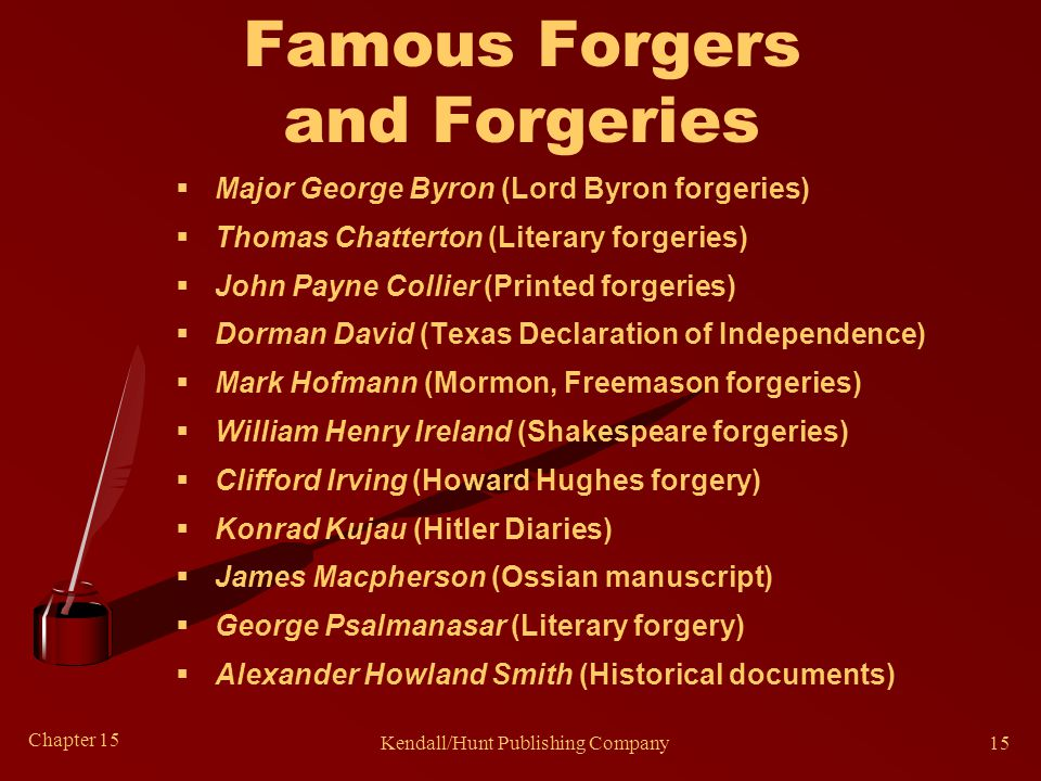 Chapter 15 Kendall/Hunt Publishing Company15 Famous Forgers and Forgeries  Major George Byron (Lord Byron forgeries)  Thomas Chatterton (Literary forgeries)  John Payne Collier (Printed forgeries)  Dorman David (Texas Declaration of Independence)  Mark Hofmann (Mormon, Freemason forgeries)  William Henry Ireland (Shakespeare forgeries)  Clifford Irving (Howard Hughes forgery)  Konrad Kujau (Hitler Diaries)  James Macpherson (Ossian manuscript)  George Psalmanasar (Literary forgery)  Alexander Howland Smith (Historical documents)