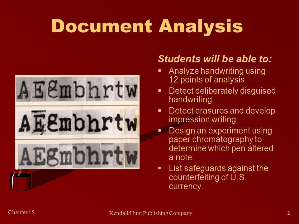 Chapter 15 Kendall/Hunt Publishing Company2 Document Analysis Students will be able to:  Analyze handwriting using 12 points of analysis.