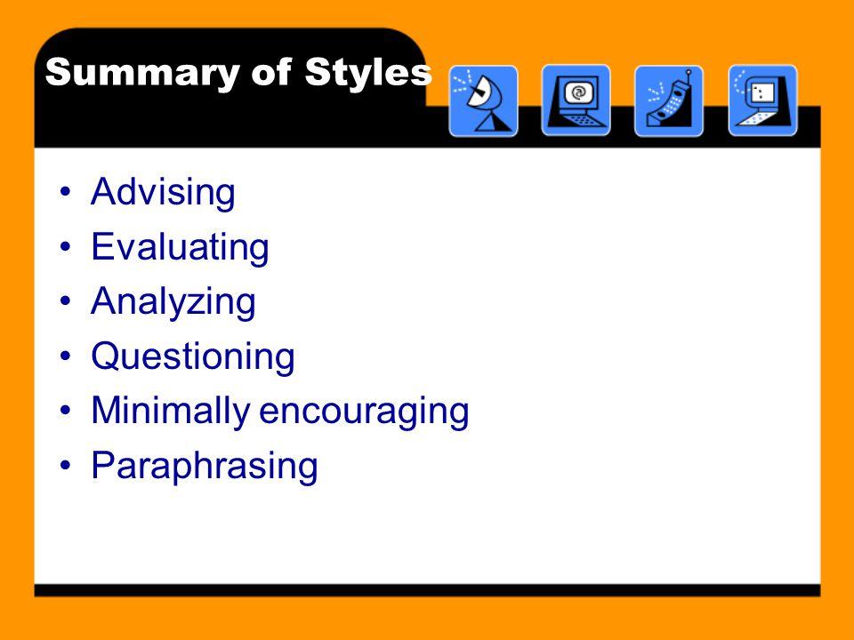 Summary of Styles Advising Evaluating Analyzing Questioning Minimally encouraging Paraphrasing