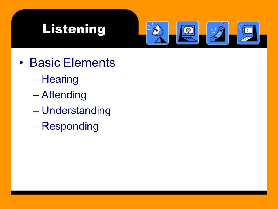 Listening Basic Elements –Hearing –Attending –Understanding –Responding