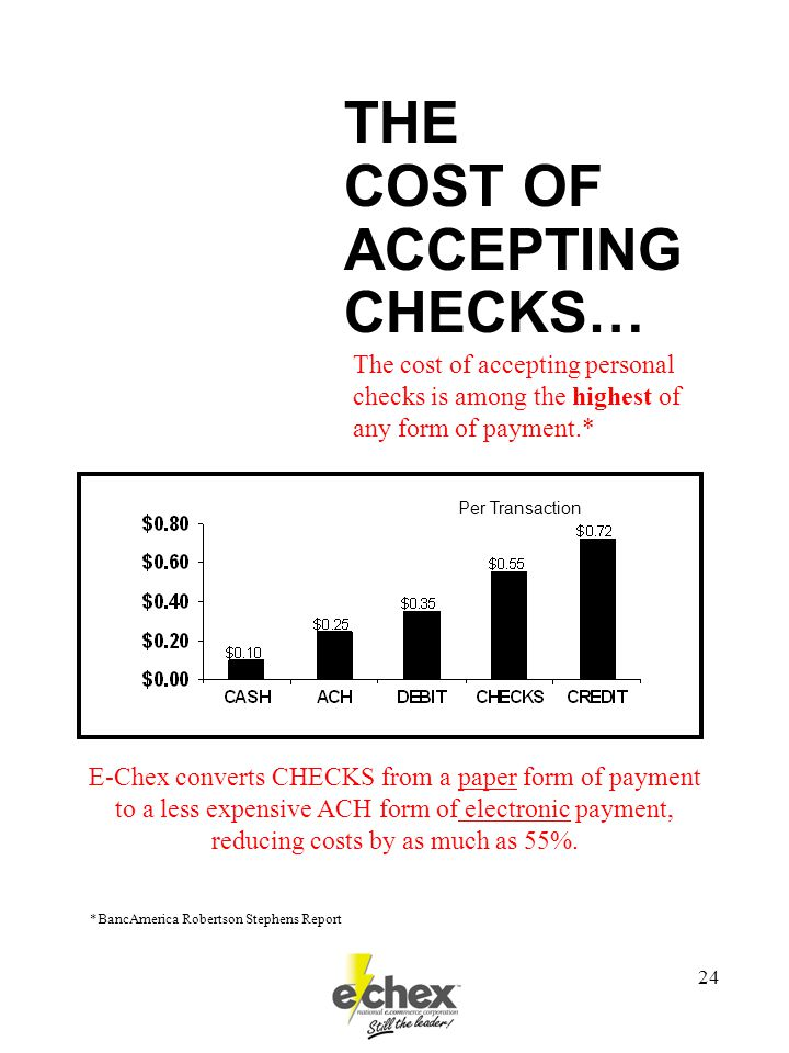 24 THE COST OF ACCEPTING CHECKS… E-Chex converts CHECKS from a paper form of payment to a less expensive ACH form of electronic payment, reducing costs by as much as 55%.