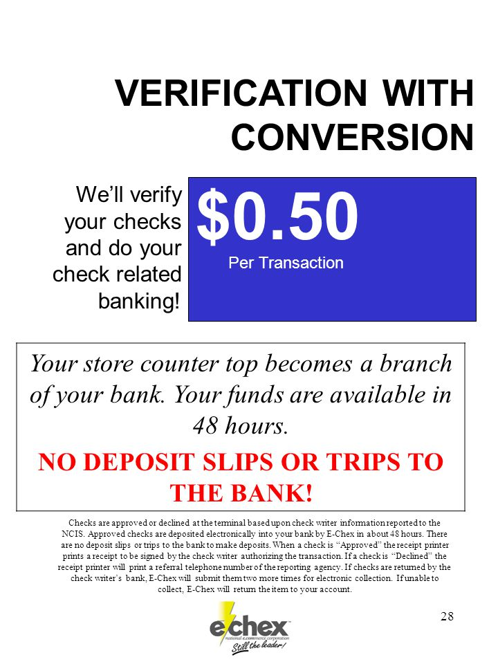 28 $0.50 Per Transaction We'll verify your checks and do your check related banking.