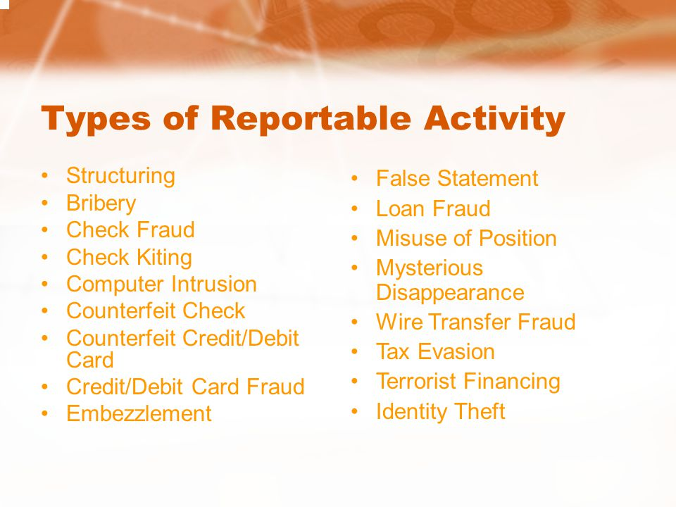 Types of Reportable Activity Structuring Bribery Check Fraud Check Kiting Computer Intrusion Counterfeit Check Counterfeit Credit/Debit Card Credit/De