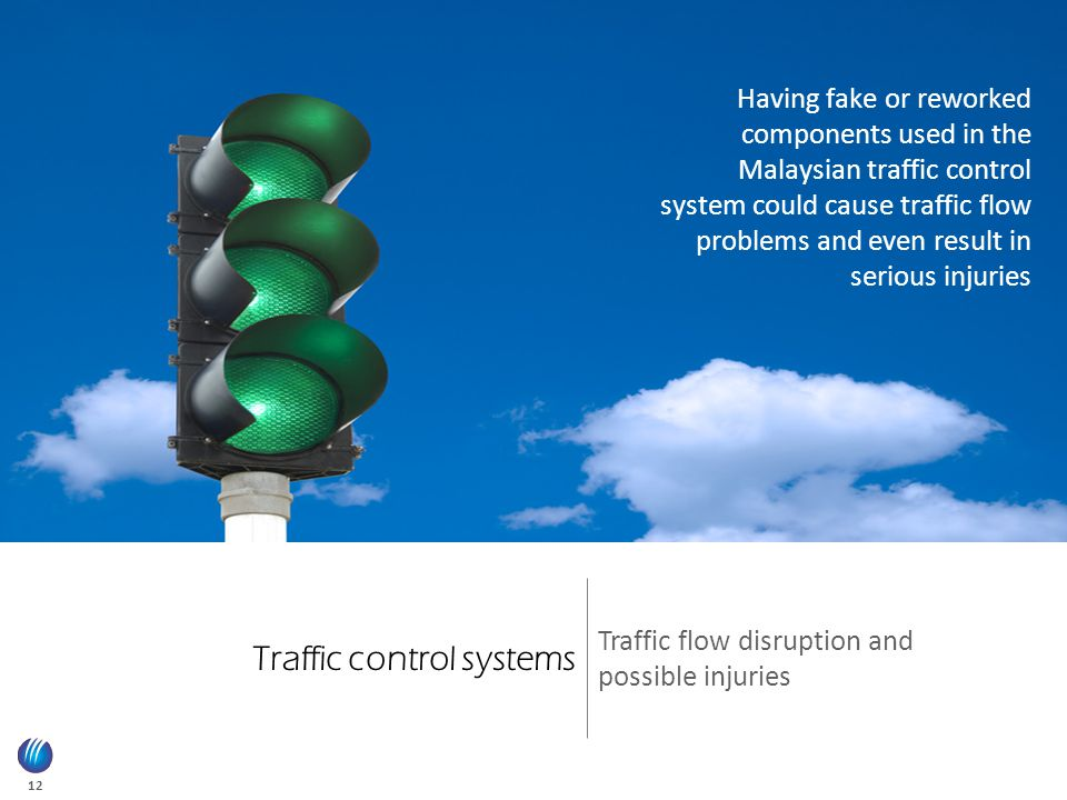 12 Traffic control systems Traffic flow disruption and possible injuries Having fake or reworked components used in the Malaysian traffic control system could cause traffic flow problems and even result in serious injuries