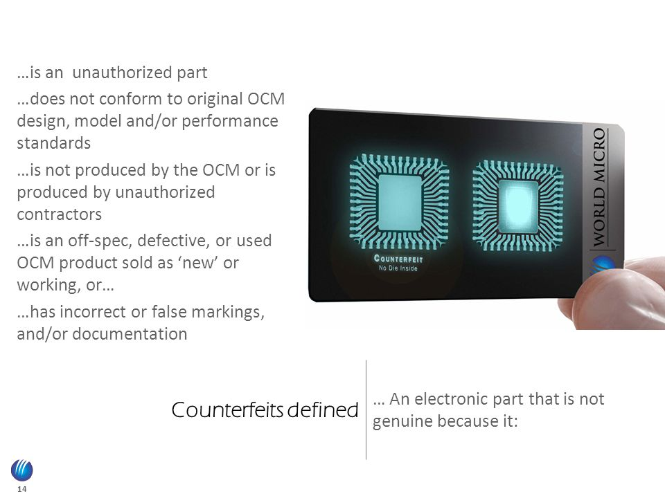 14 Counterfeits defined … An electronic part that is not genuine because it: …is an unauthorized part …does not conform to original OCM design, model and/or performance standards …is not produced by the OCM or is produced by unauthorized contractors …is an off-spec, defective, or used OCM product sold as 'new' or working, or… …has incorrect or false markings, and/or documentation