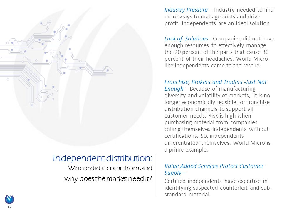 17 Independent distribution: Where did it come from and why does the market need it.