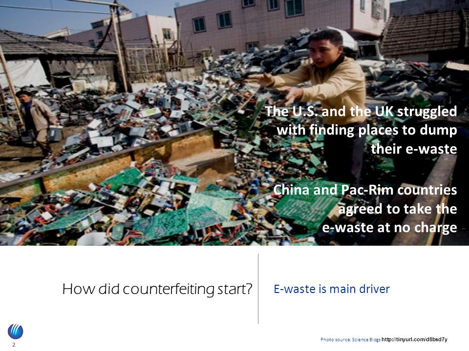 2 How did counterfeiting start.E-waste is main driver The U.S.