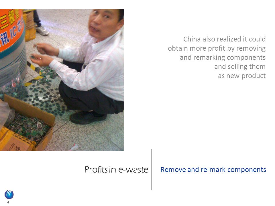 4 Profits in e-waste Remove and re-mark components China also realized it could obtain more profit by removing and remarking components and selling them as new product