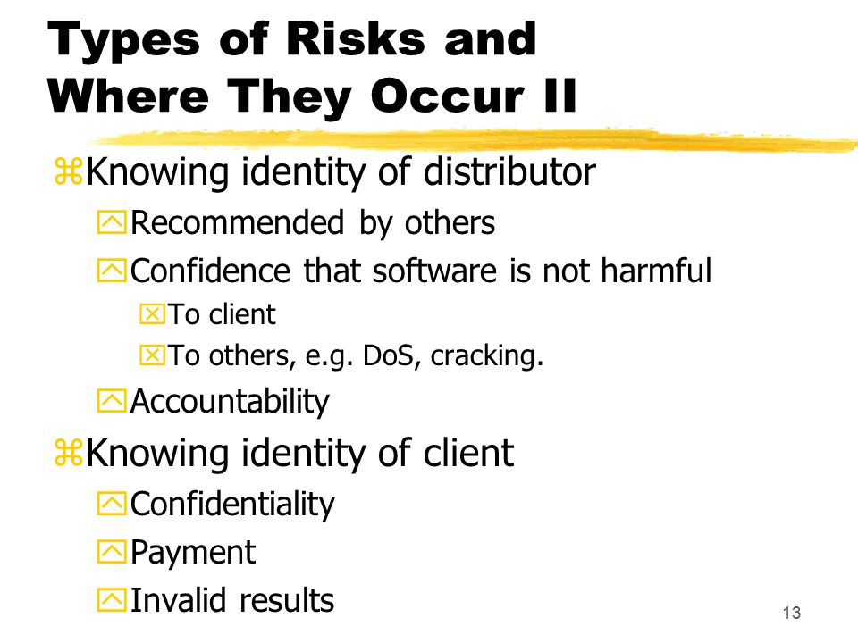 13 Types of Risks and Where They Occur II zKnowing identity of distributor yRecommended by others yConfidence that software is not harmful xTo client xTo others, e.g.