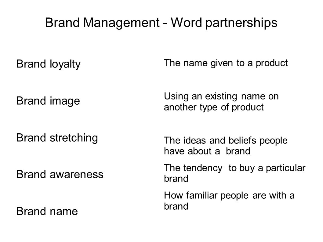 Brand Management - Word partnerships Brand loyalty Brand image Brand stretching Brand awareness Brand name The name given to a product Using an existi