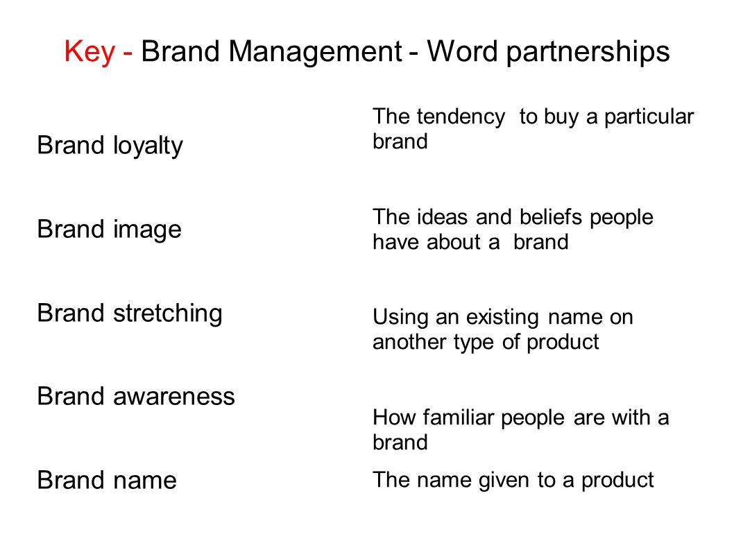 Key - Brand Management - Word partnerships Brand loyalty Brand image Brand stretching Brand awareness Brand name The tendency to buy a particular bran