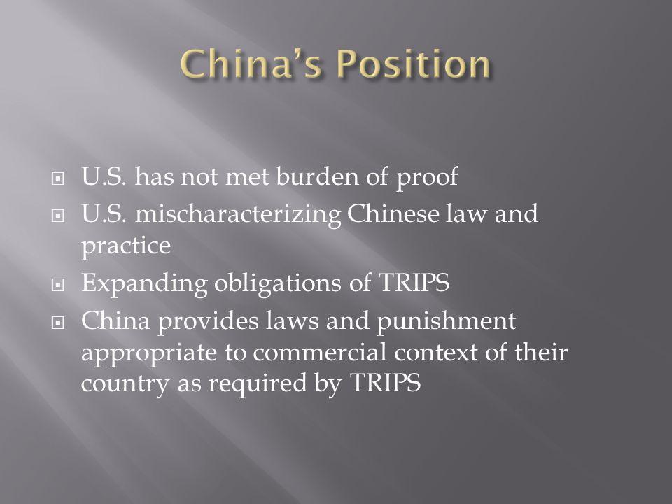  U.S. has not met burden of proof  U.S.