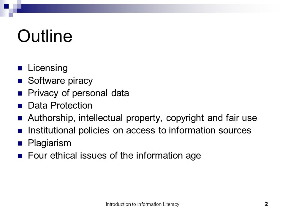 Introduction to Information Literacy13 Copyright and Public Domain Public domain comprises all works that are not copyright-protected which means that you may use it without permission.