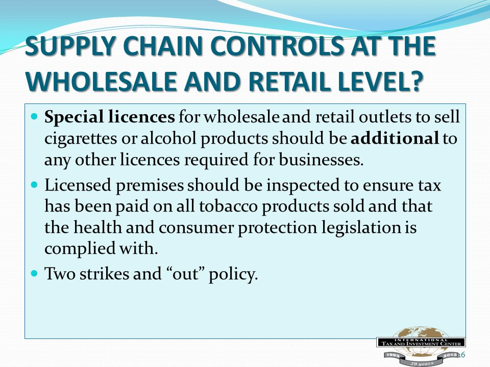 SUPPLY CHAIN CONTROLS AT THE WHOLESALE AND RETAIL LEVEL.