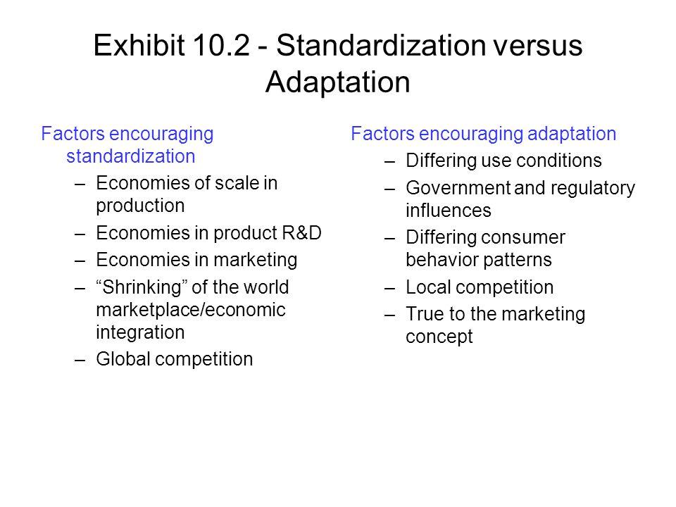 Exhibit 10.2 - Standardization versus Adaptation Factors encouraging standardization –Economies of scale in production –Economies in product R&D –Econ