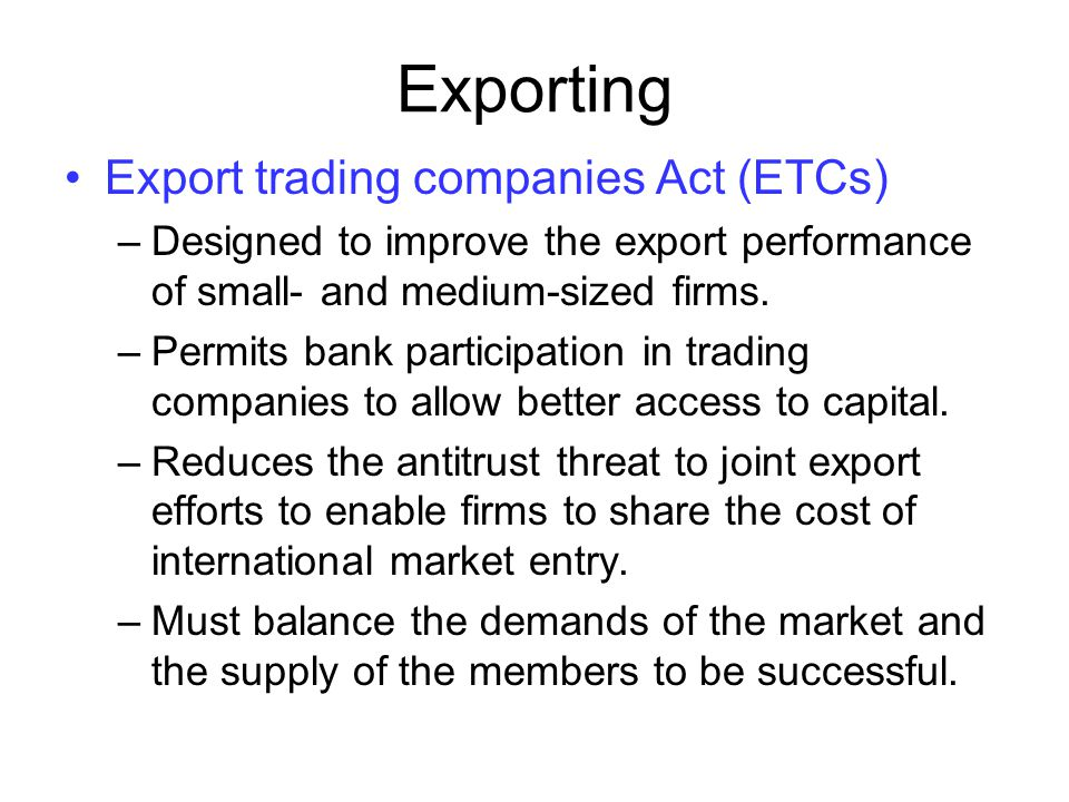 Sources of Export Financing Differences between forfeiting and factoring: –Factors usually want a large percentage of the exporter's business, while most forfeiters work on a one-shot basis.