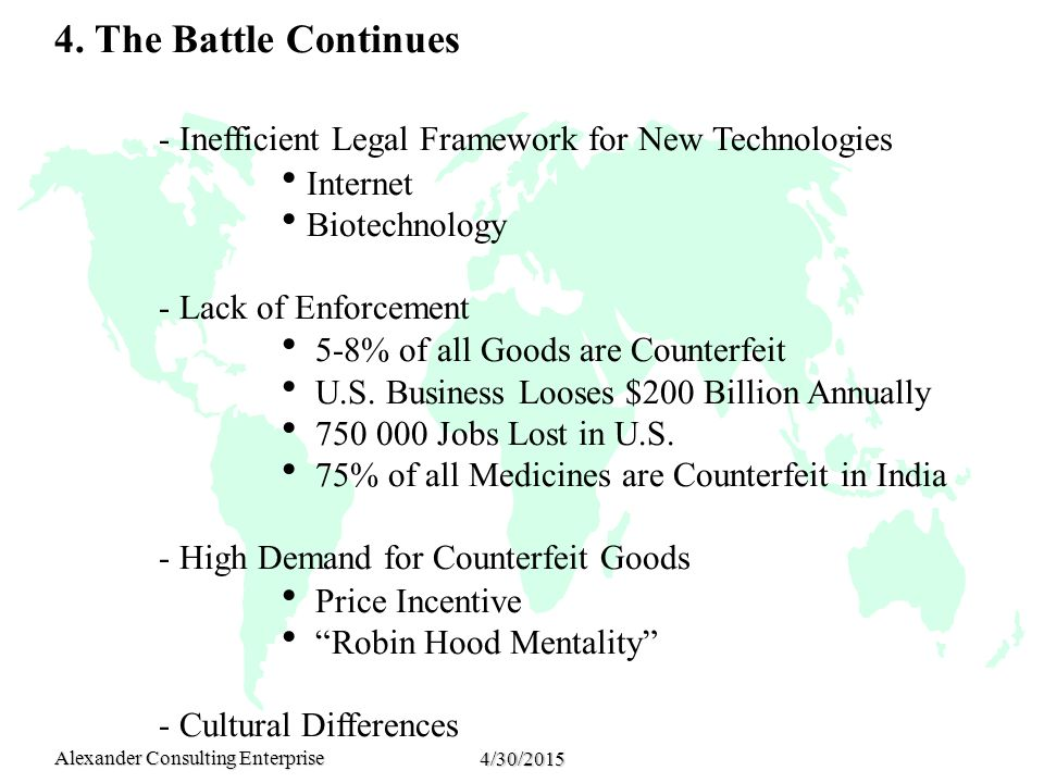 Alexander Consulting Enterprise 4/30/2015 4. The Battle Continues - Inefficient Legal Framework for New Technologies  Internet  Biotechnology - Lack