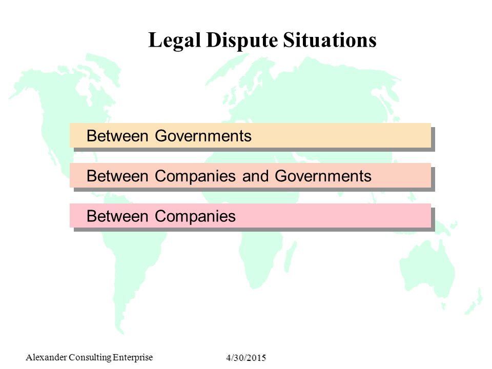 Alexander Consulting Enterprise 4/30/2015 Legal Dispute Situations Between Governments Between Companies and Governments Between Companies