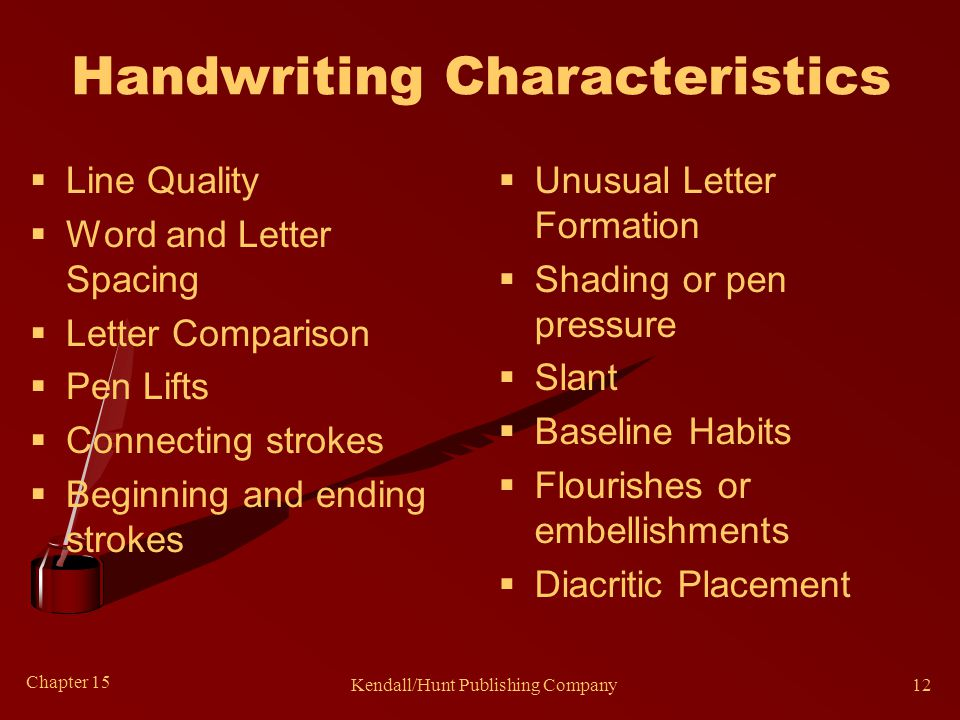 Chapter 15 Kendall/Hunt Publishing Company12 Handwriting Characteristics  Line Quality  Word and Letter Spacing  Letter Comparison  Pen Lifts  Co