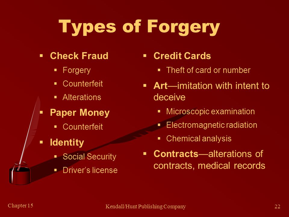 Chapter 15 Kendall/Hunt Publishing Company22 Types of Forgery  Check Fraud  Forgery  Counterfeit  Alterations  Paper Money  Counterfeit  Identi