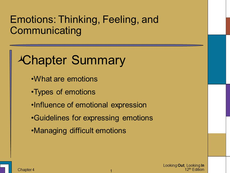 Looking Out, Looking In 12 th Edition Chapter 4 1 Emotions: Thinking, Feeling, and Communicating  Chapter Summary What are emotions Types of emotions
