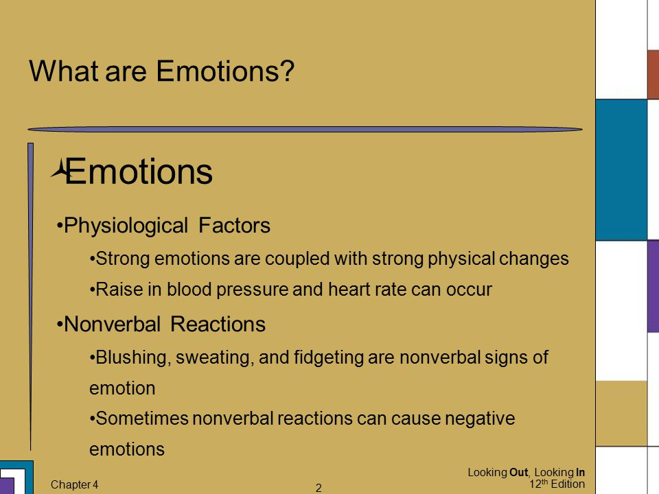 Looking Out, Looking In 12 th Edition Chapter 4 2 What are Emotions?  Emotions Physiological Factors Strong emotions are coupled with strong physical
