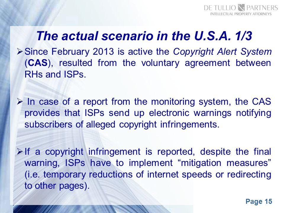 Page 15 The actual scenario in the U.S.A.